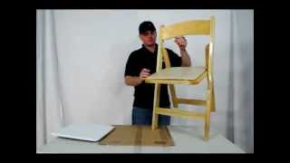 Classic Padded Wood Folding Chair.avi