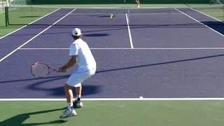 David Nalbandian Playing Points from Back Perspective - BNP Paribas Open 2013
