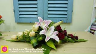 Cắm hoa để bàn dễ thương hoa Ly Hồng ,Cắm Hoa mở shop 81