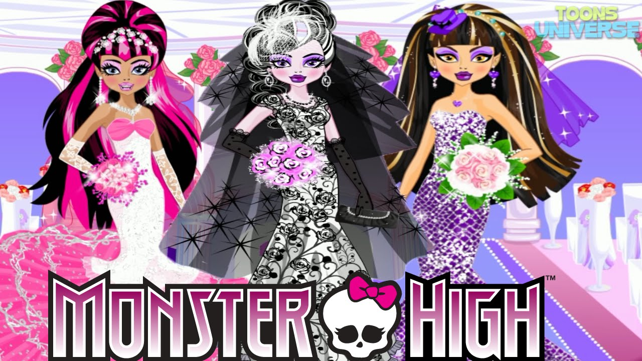 Monster High Cute Bride Draculaura Lagoona Cleo Abbey Clawdeen - Monster high dress up games spectra hairstyle