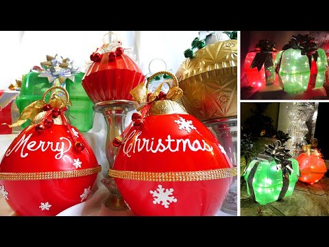 Large Colorful Outdoor Ornaments That Light Up! - Dollar Tree DIY