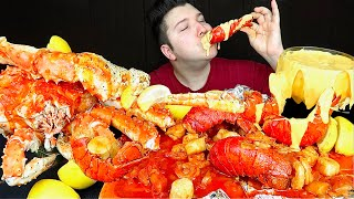 Massive $479 Seafood Boil • Cheesy King Crab, Lobster, Scallops, & Shrimp • MUKBANG