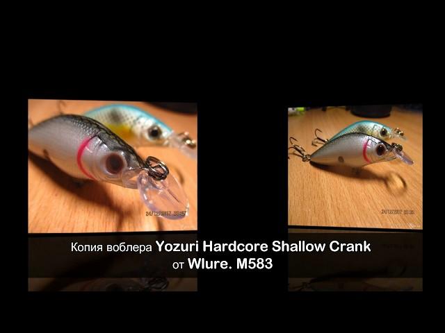 Копия воблера Yozuri Hardcore Shallow Crank от Wlure  M583 (подводная съемка)