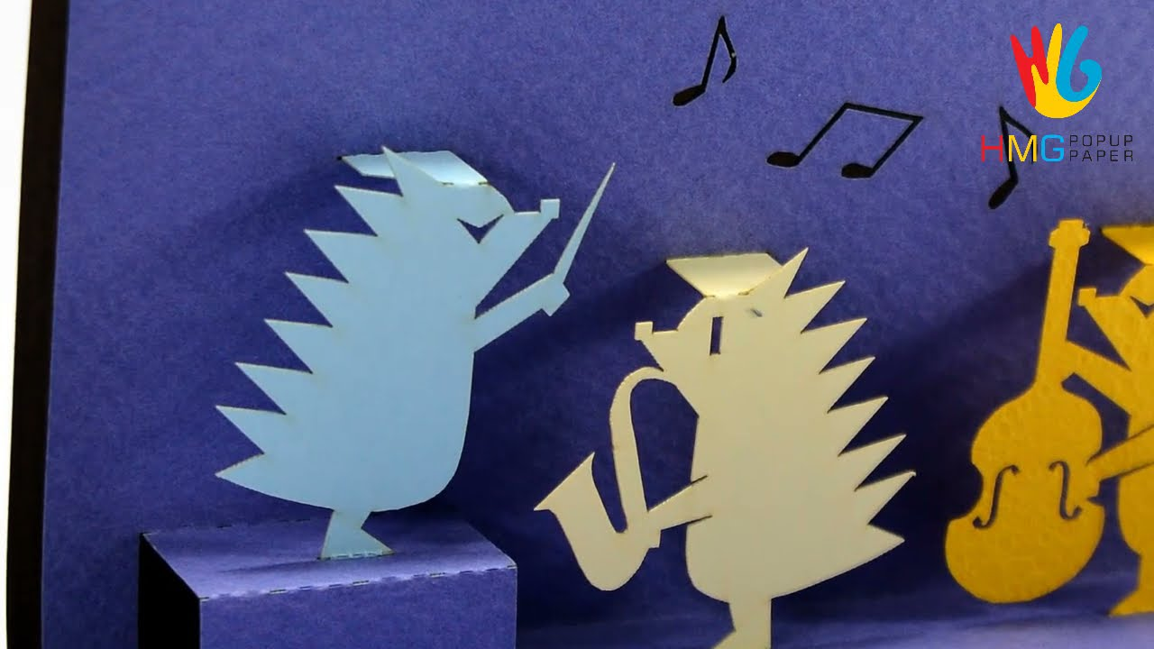 Birthday 3D Greeting Card With Hedgehog Band