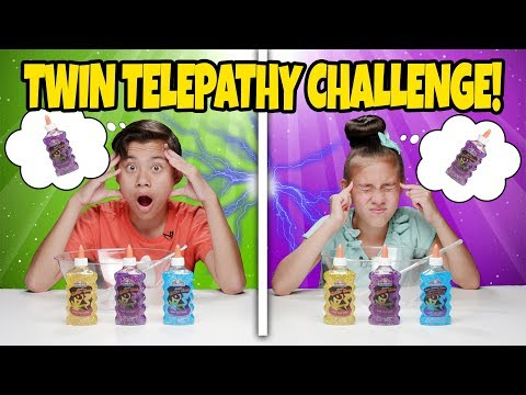 TWIN TELEPATHY SLIME CHALLENGE!!! Reading My Sister\'s Mind to Make DIY Slime!