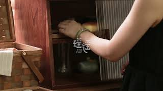 옛날찬장 원목 모루유리 미니 홈카페장 그릇장식장