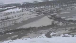 Black Hawk flys toward Missouri River Ice Jam video 1