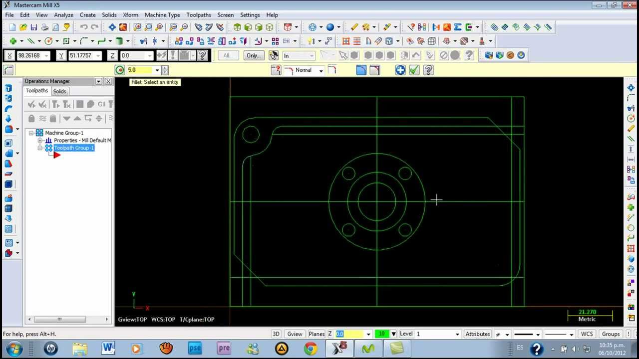 tutorial sobre como dise ar en mastercam x5 primera parte fresa rh youtube com manual mastercam x manuale mastercam x italiano