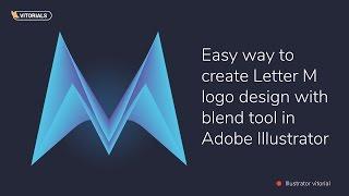 Buchstaben M mit dem angleichen-Werkzeug in Adobe Illustrator tutorial. Erstellen Vektor-logo mit Mischung