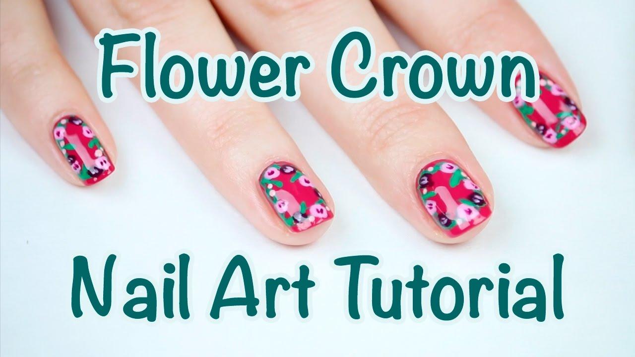 Spring Flower Crown Nail Art Tutorial The Essies 2017 Youtube