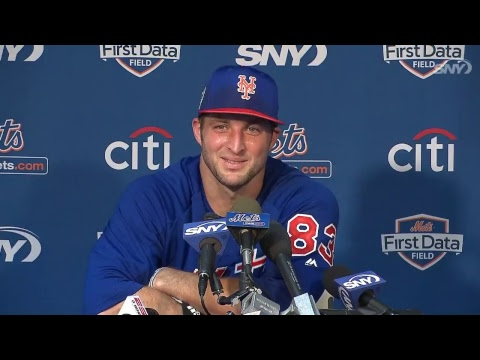 Tim Tebow meets with the media on 2/18