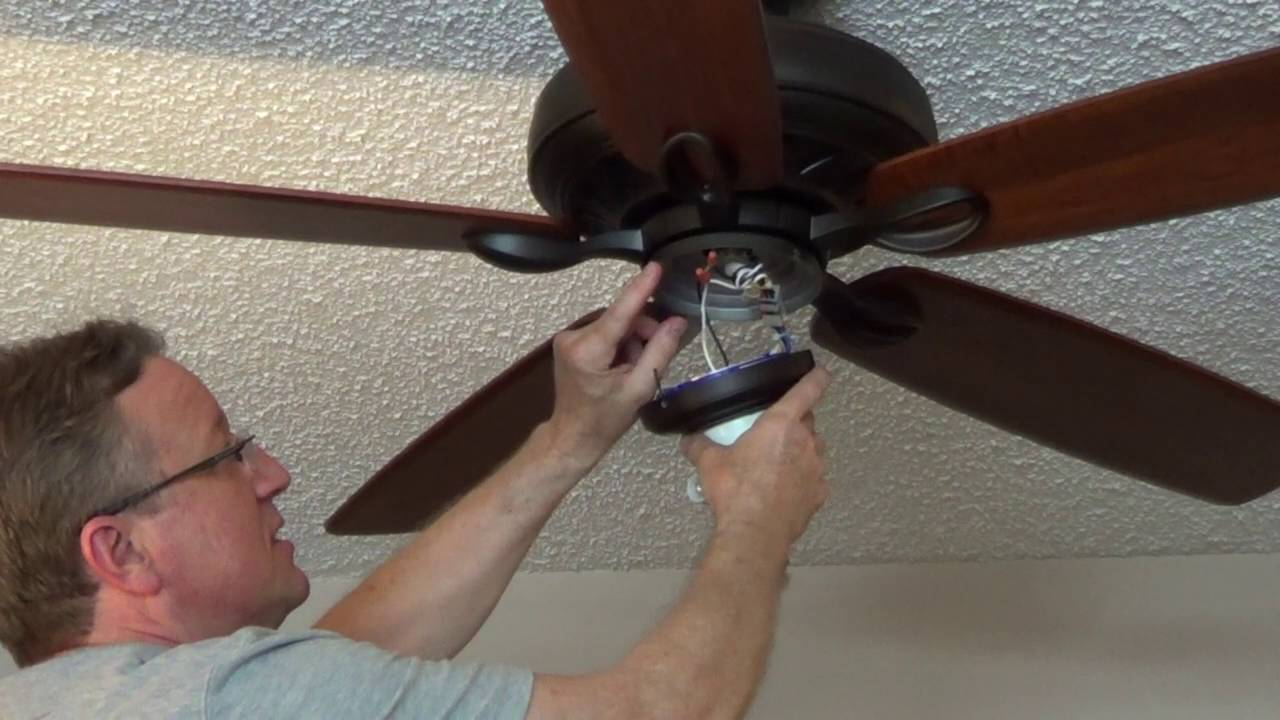 How To Install An Emerson Ceiling Fan Light Fixture Youtube