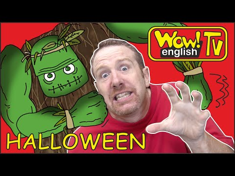 Halloween Spooky Haunted Dollshouse for Kids from Steve and Maggie | Learning Wow English TV Story