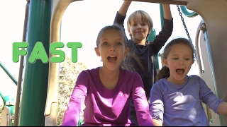 Learn English Words! Opposites playground slide with Sign Post Kids!