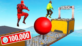 Download FINISH FIRST To WIN 100,000 V-Bucks! (Fortnite 150 LEVEL Deathrun) Mp3 and Videos
