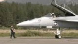 F/A 18 Super Hornet & two F-18 Hornets leave South Tahoe Airport
