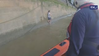 Man leaps into River Thames to save dog and has to be rescued himself