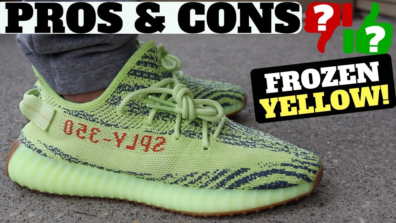 PROS   CONS - adidas YEEZY Boost 350 V2  Semi Frozen Yellow  Review   On  Feet a3d82d919