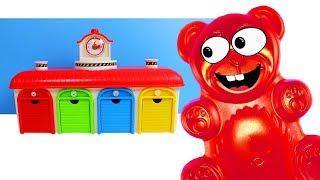Lucky Bär seine Little Bus tayo Garage und Zeit Farben zu lernen