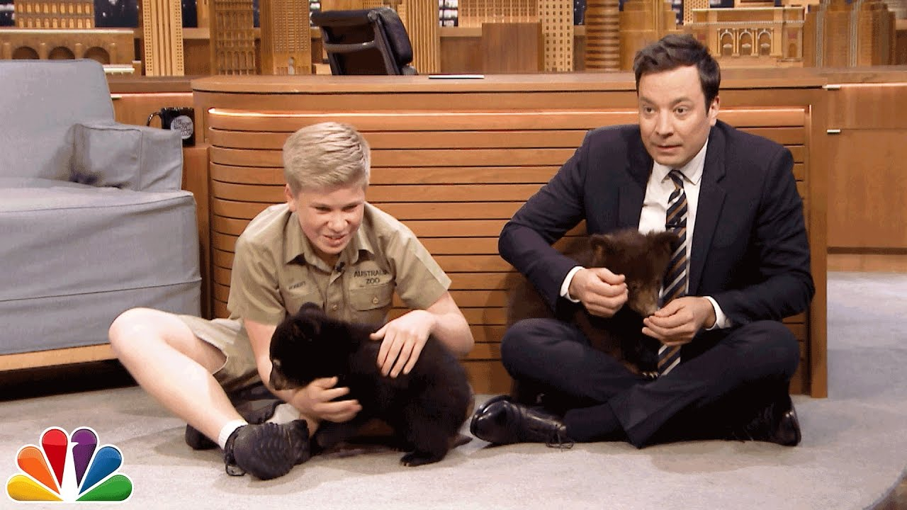 Image result for Robert Irwin and Jimmy Play with Baby Black Bears
