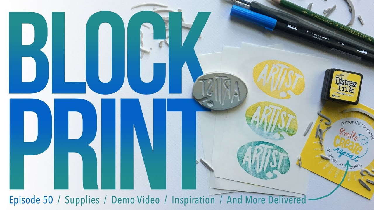 Carving And Printing A Rubber Stamp Block Print Demo Smile Create Repeat