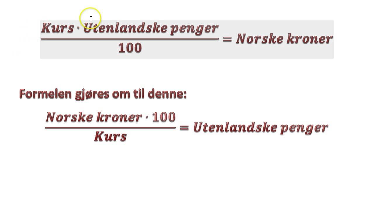 norske kroner kurs