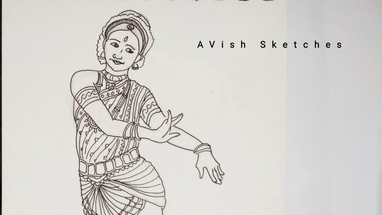 Indian Classical Dance Drawing Series Drawing 6 Youtube