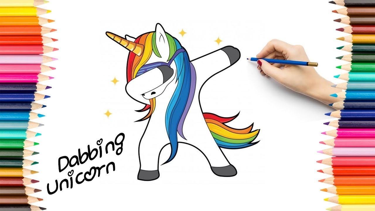 Cute Dabbing Unicorn Drawing And Coloring For Kids Youtube