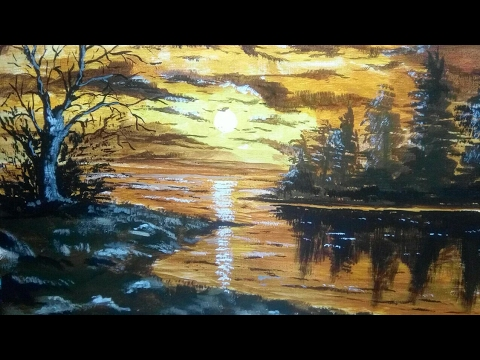 How to paint oil painting on canvas board | For beginners |  evening painting | sky, landscape,water