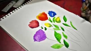 Easy Simple Flower Painting, water painting for beginners