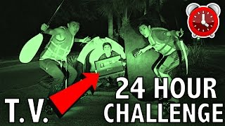 24 HOUR OVERNIGHT CHALLENGE IN THE MIDDLE OF THE ROAD!!