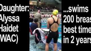 Swim Dad Colonel Haidet surprises Daughter at Tim Myer Sr Champs after tour of duty