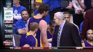 Phil Jackson Slaps Pau Gasol(For Being Soft) As The Lakers Fall Behind 3-0 To The Mavericks 5-6-2011 thumbnail