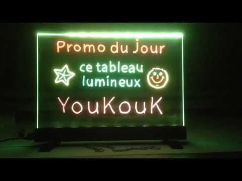 ardoise lumineuse fluo led youkouk 59 euros ht youtube. Black Bedroom Furniture Sets. Home Design Ideas
