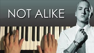 HOW TO PLAY - Eminem - Not Alike (Piano Tutorial Lesson)