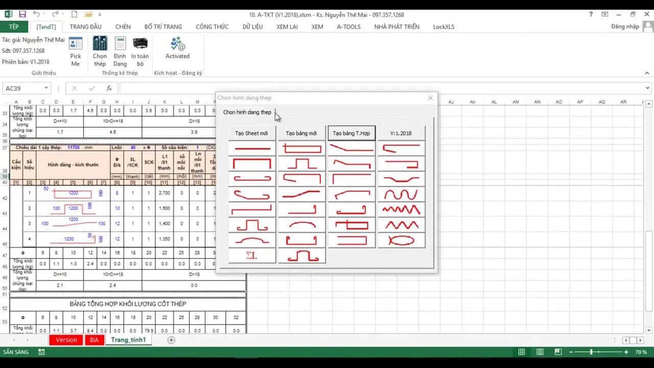 phần mềm thống kê cốt thép tự động trên excel