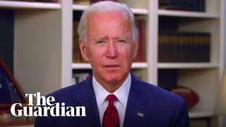 Joe Biden reacts as US coronavirus death toll passes 100,000