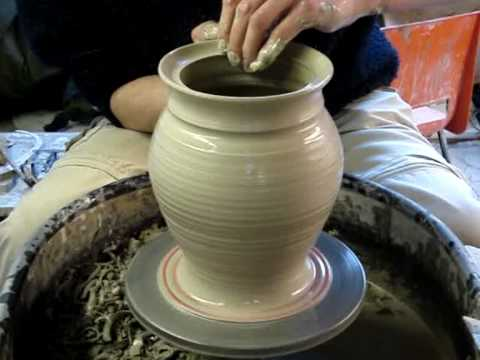 Making A Clay Pottery Storage Jar With Lid On A Potters