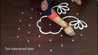 easy & simple beginners rangoli designs with 7 dots * latest kolam * beautiful muggulu  patterns