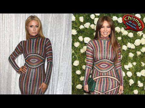 Paris Hilton le copia el vestido a Thalía