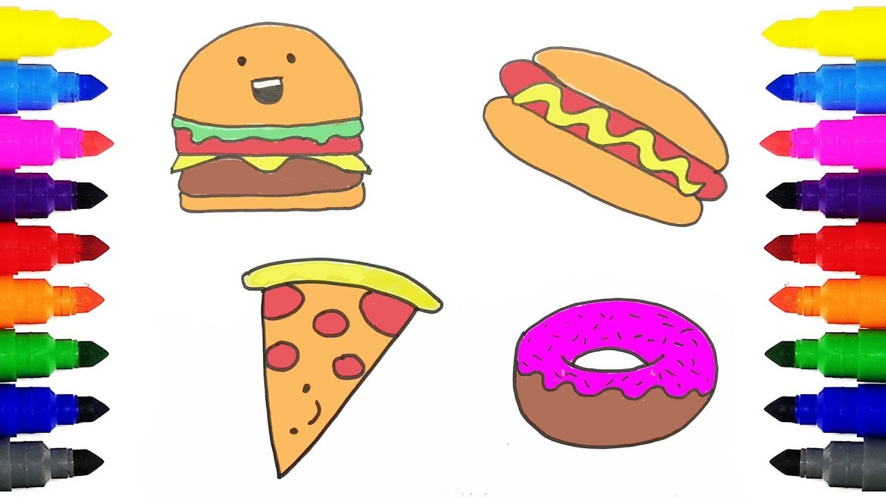 how to draw fast food coloring cheeseburger pizza donut