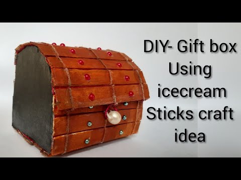 DIY- Gift box | Beautiful Jewellry box | De Decor | ice lcream stick craft idea | miniature craft