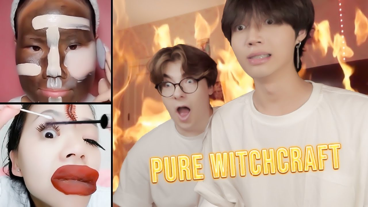 I FORCED Him TO WATCH ALL These Asian Makeup Tutorials Transformation!! (he hates me...)