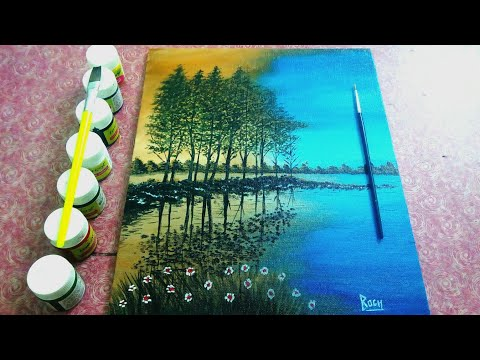 Acrylic painting Abstract/ Easy Painting/ Art Tutorial/ Art for Beginners/ Tamil Artist/Easy Scenary thumbnail