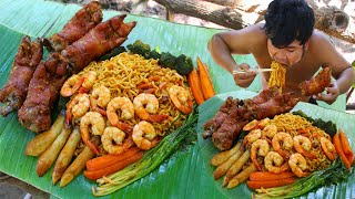 Cooking Pig Feet Noodle Recipe Eating So Yummy  Fried Noodle Shrimp with Pork Feet &C Vegetable