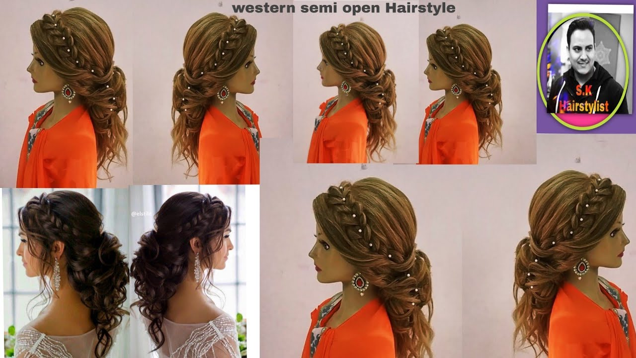 Latest Western Open Hairstyle With Braid Hair Tutorial Latest Open