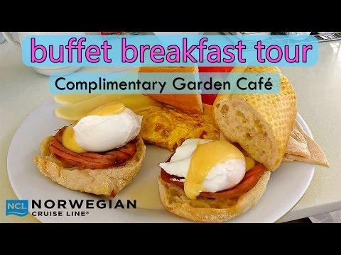 Norwegian Jewel breakfast buffet Garden Café tour 90+ items