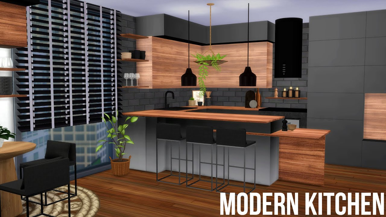 Modern Ombre Kitchen Cc Links The Sims 4 Speed Build Youtube