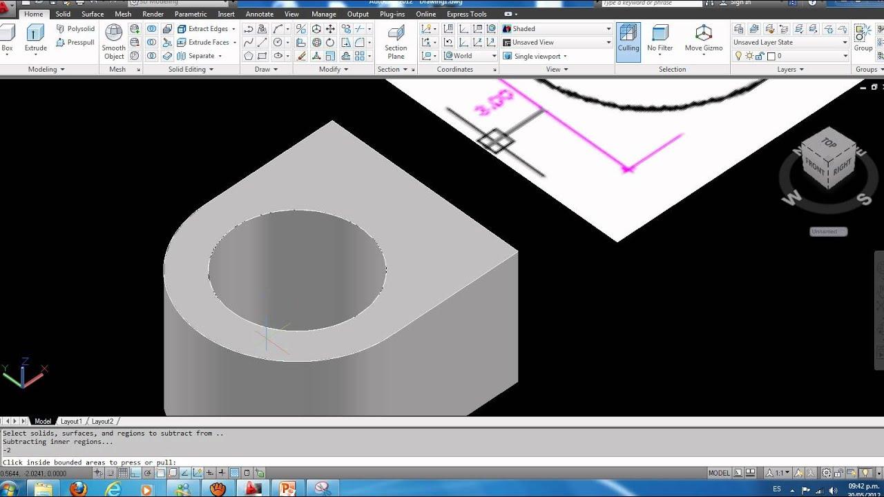 Como hacer una pieza mecanica en 3d autocad 2012 parte 1 for Programa para dibujar en 3d