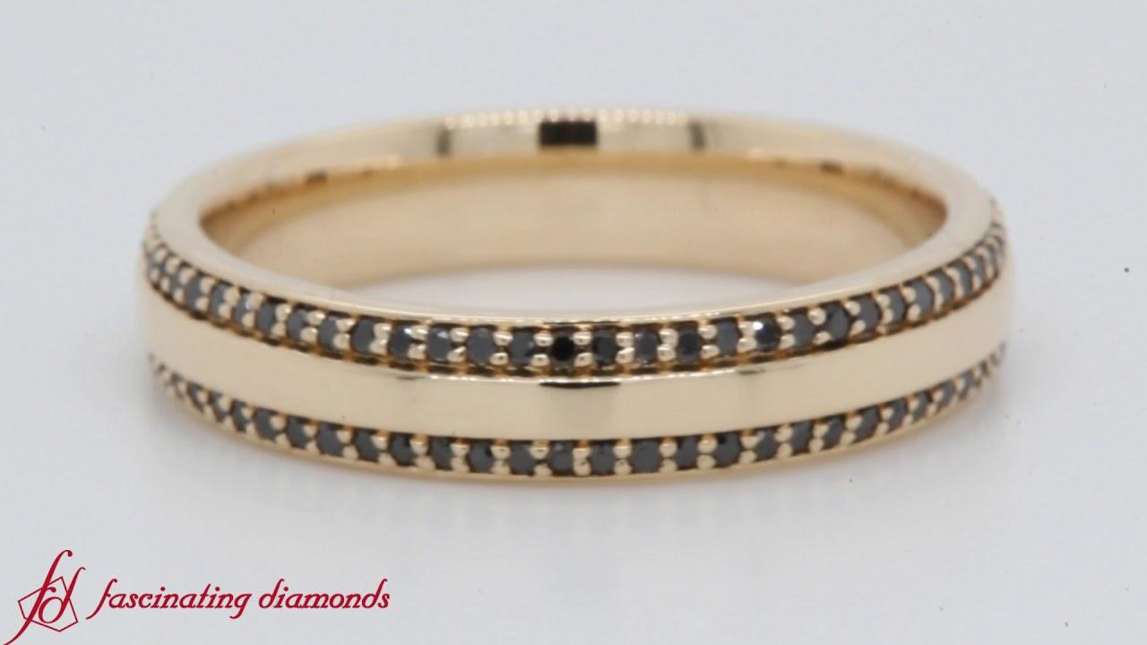 eb7ecde53639e Yellow Gold Round Black Diamond Pave Comfort Fit Mens Band-FDEWB122291RO